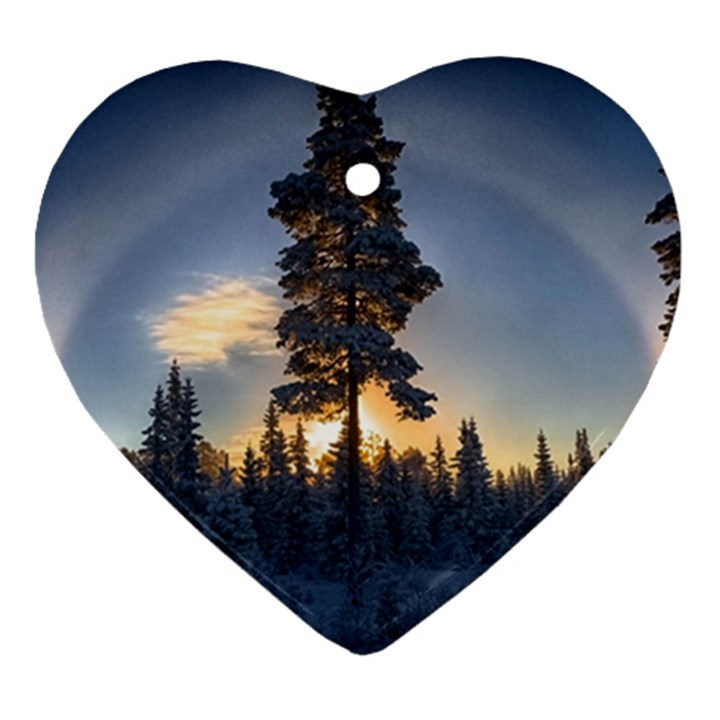 Winter Sunset Pine Tree Heart Ornament (Two Sides)
