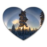Winter Sunset Pine Tree Heart Mousepads Front