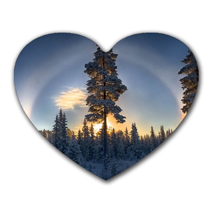 Winter Sunset Pine Tree Heart Mousepads