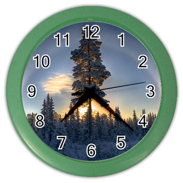 Winter Sunset Pine Tree Color Wall Clock