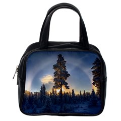 Winter Sunset Pine Tree Classic Handbag (one Side)