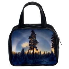 Winter Sunset Pine Tree Classic Handbag (two Sides) by Alisyart