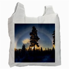 Winter Sunset Pine Tree Recycle Bag (two Side)