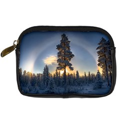 Winter Sunset Pine Tree Digital Camera Leather Case