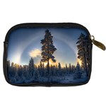 Winter Sunset Pine Tree Digital Camera Leather Case Back