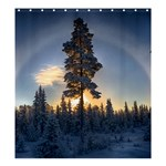 Winter Sunset Pine Tree Shower Curtain 66  x 72  (Large)  58.75 x64.8  Curtain