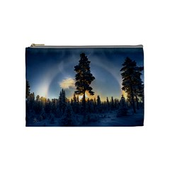 Winter Sunset Pine Tree Cosmetic Bag (medium) by Alisyart
