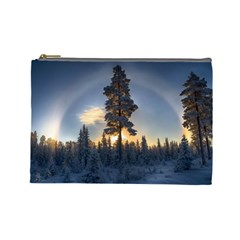 Winter Sunset Pine Tree Cosmetic Bag (large)