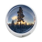 Winter Sunset Pine Tree 4-Port USB Hub (One Side) Front