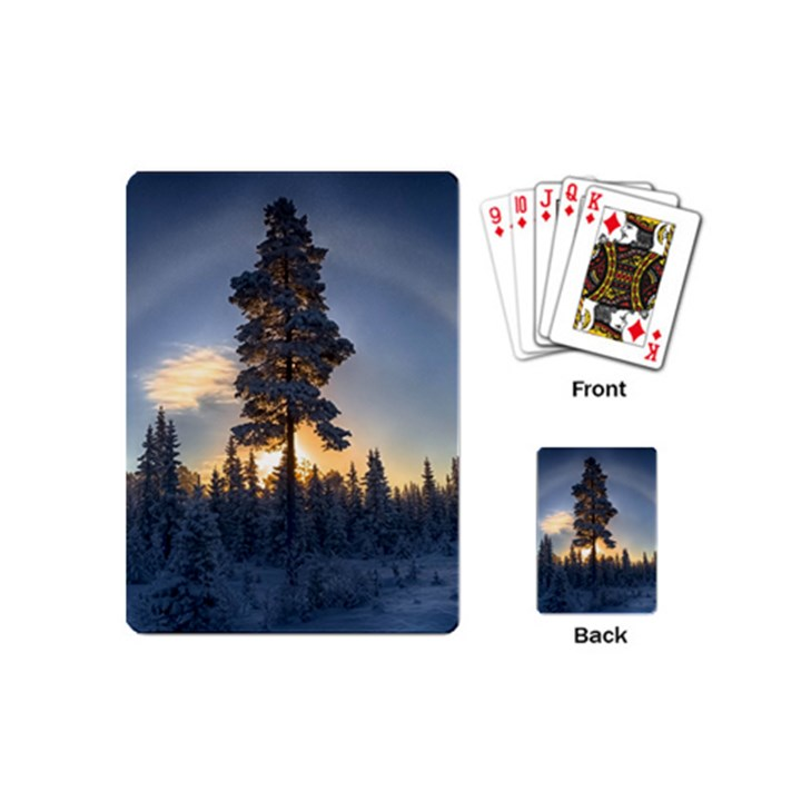 Winter Sunset Pine Tree Playing Cards (Mini)