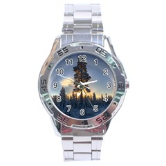 Winter Sunset Pine Tree Stainless Steel Analogue Watch