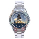 Winter Sunset Pine Tree Stainless Steel Analogue Watch Front