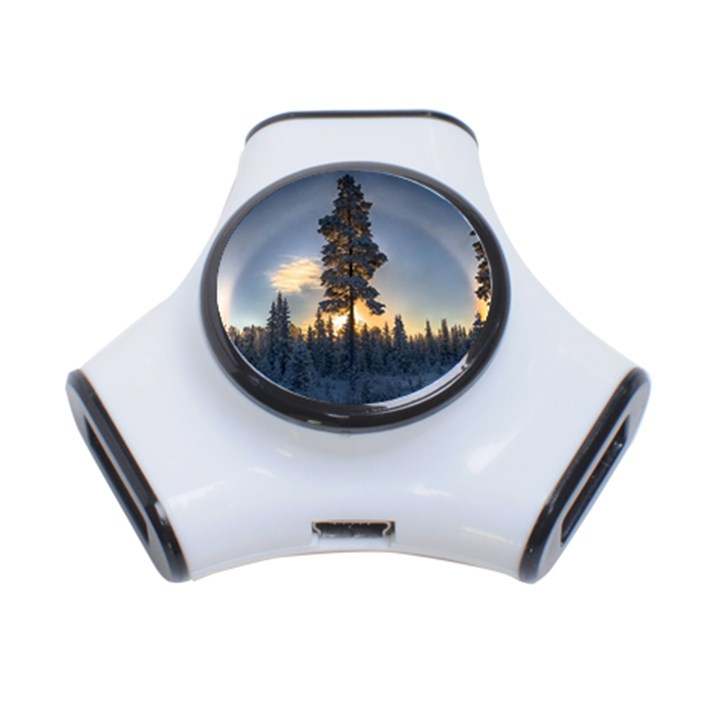 Winter Sunset Pine Tree 3-Port USB Hub