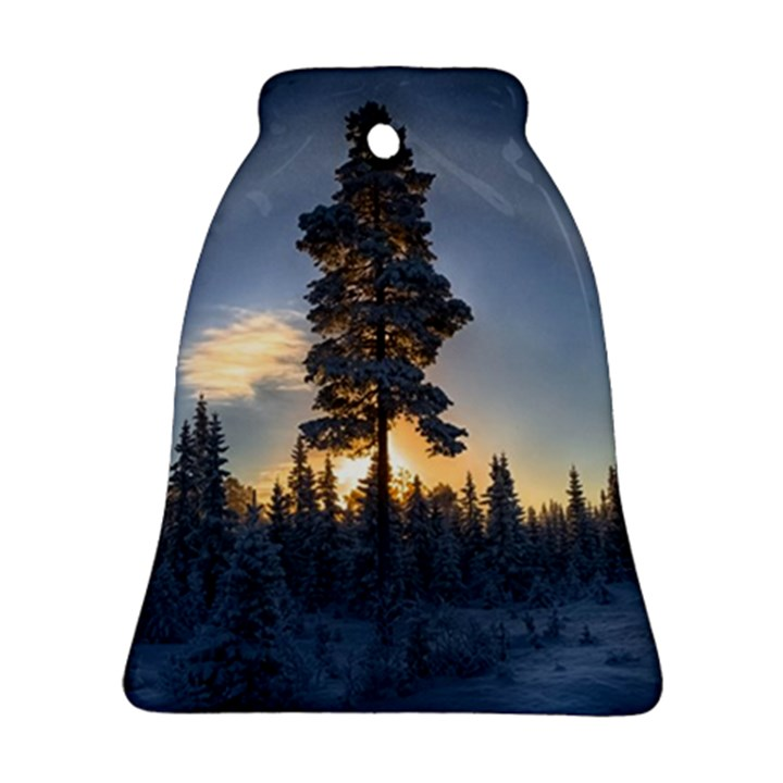 Winter Sunset Pine Tree Ornament (Bell)