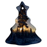 Winter Sunset Pine Tree Christmas Tree Ornament (Two Sides) Front