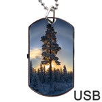 Winter Sunset Pine Tree Dog Tag USB Flash (One Side) Front