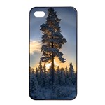 Winter Sunset Pine Tree Apple iPhone 4/4s Seamless Case (Black) Front