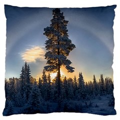 Winter Sunset Pine Tree Large Cushion Case (two Sides)