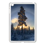 Winter Sunset Pine Tree Apple iPad Mini Case (White) Front