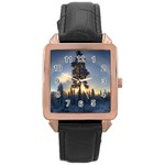 Winter Sunset Pine Tree Rose Gold Leather Watch  Front