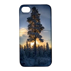 Winter Sunset Pine Tree Apple Iphone 4/4s Hardshell Case With Stand