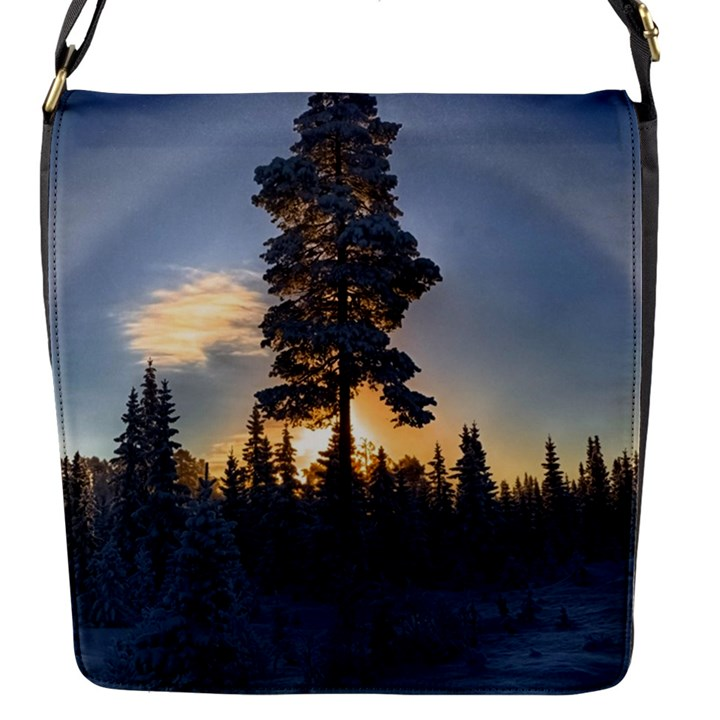 Winter Sunset Pine Tree Flap Closure Messenger Bag (S)