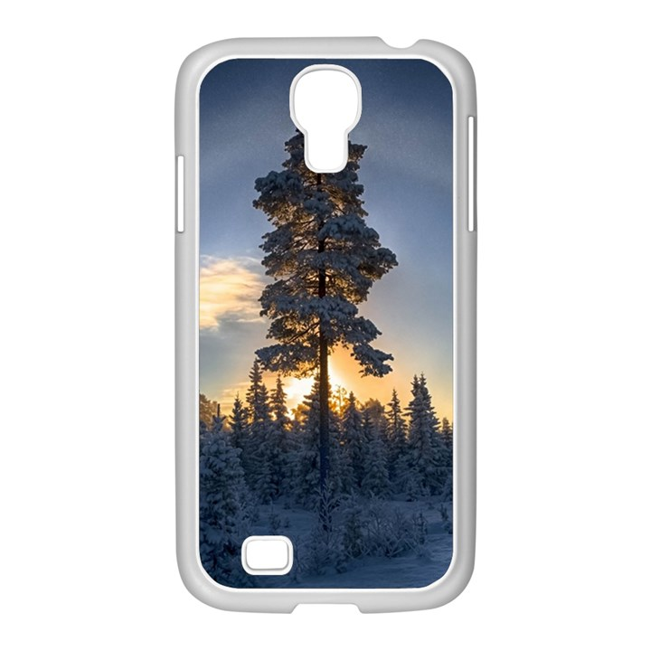 Winter Sunset Pine Tree Samsung GALAXY S4 I9500/ I9505 Case (White)