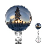 Winter Sunset Pine Tree Stainless Steel Nurses Watch Front