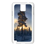 Winter Sunset Pine Tree Samsung Galaxy Note 3 N9005 Case (White) Front