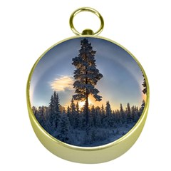 Winter Sunset Pine Tree Gold Compasses by Alisyart