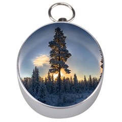 Winter Sunset Pine Tree Silver Compasses by Alisyart