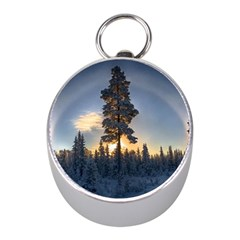 Winter Sunset Pine Tree Mini Silver Compasses by Alisyart