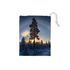 Winter Sunset Pine Tree Drawstring Pouch (small)