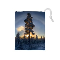 Winter Sunset Pine Tree Drawstring Pouch (medium)