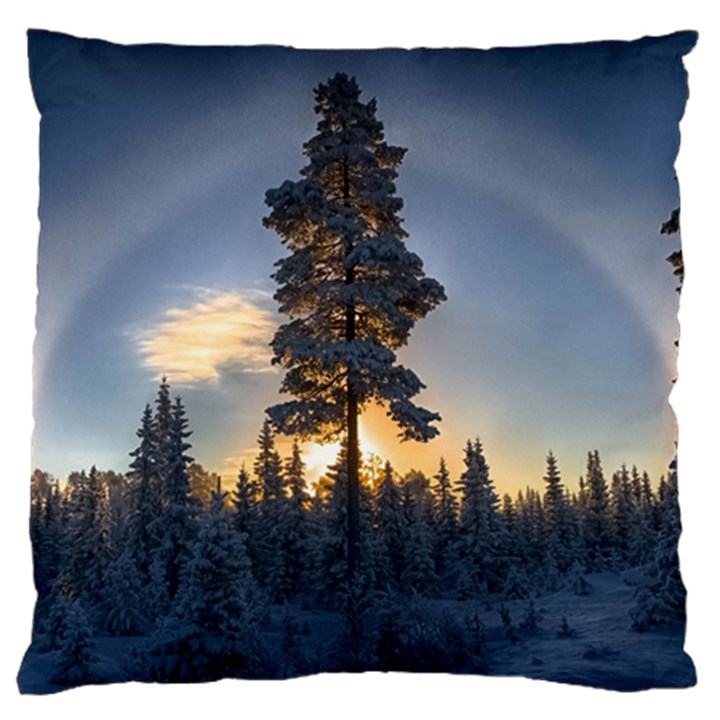 Winter Sunset Pine Tree Large Flano Cushion Case (Two Sides)