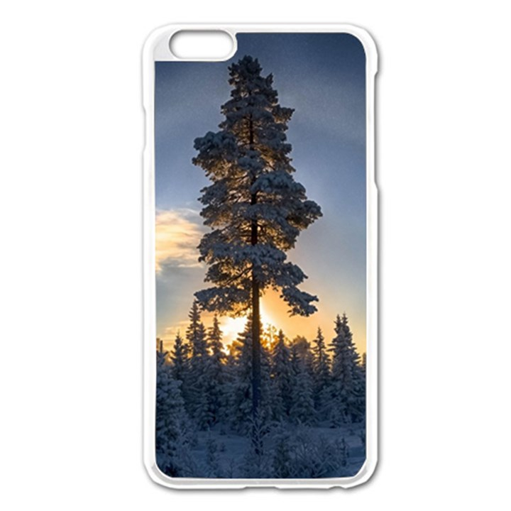 Winter Sunset Pine Tree Apple iPhone 6 Plus/6S Plus Enamel White Case
