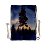 Winter Sunset Pine Tree Drawstring Bag (Small) Back