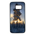 Winter Sunset Pine Tree Samsung Galaxy S7 Black Seamless Case Front