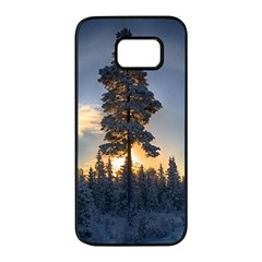 Winter Sunset Pine Tree Samsung Galaxy S7 Edge Black Seamless Case