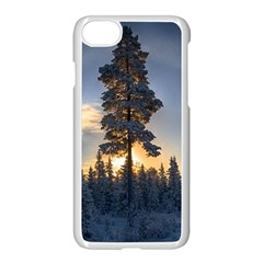 Winter Sunset Pine Tree Apple Iphone 8 Seamless Case (white)