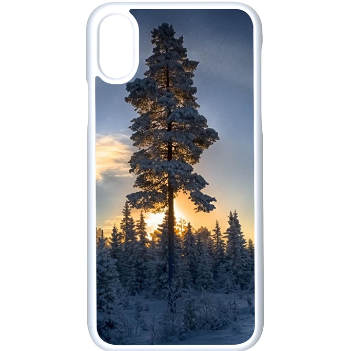 Winter Sunset Pine Tree Apple iPhone X Seamless Case (White)