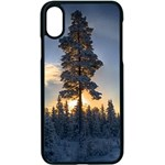 Winter Sunset Pine Tree Apple iPhone X Seamless Case (Black) Front