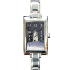 Trees Nature Snow Deer Landscape Winter Rectangle Italian Charm Watch