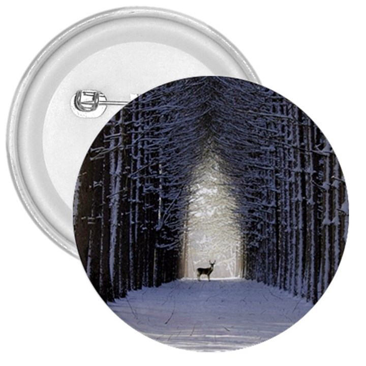 Trees Nature Snow Deer Landscape Winter 3  Buttons