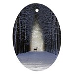 Trees Nature Snow Deer Landscape Winter Ornament (Oval) Front