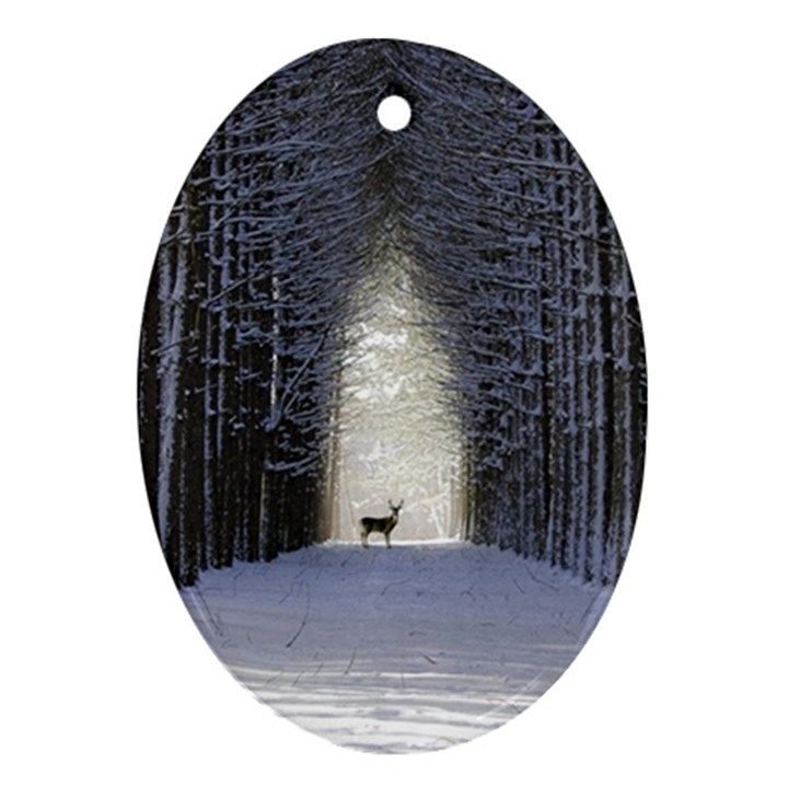 Trees Nature Snow Deer Landscape Winter Ornament (Oval)