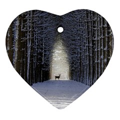 Trees Nature Snow Deer Landscape Winter Ornament (heart)