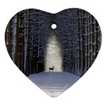 Trees Nature Snow Deer Landscape Winter Ornament (Heart) Front