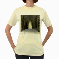 Trees Nature Snow Deer Landscape Winter Women s Yellow T Shirt