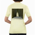 Trees Nature Snow Deer Landscape Winter Women s Yellow T-Shirt Back